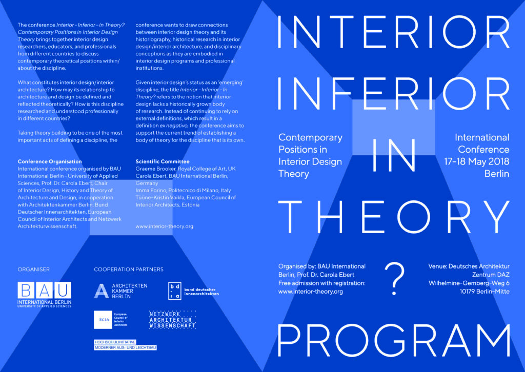 Bijdrage conferentie 'interior – inferior – in theory?' Berlijn